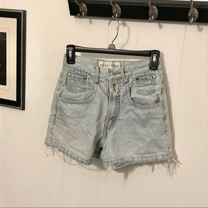 Anchor Blue High-Waisted Jean Shorts